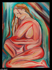 serenity expressionist abstract figurative portrait by maine artist d loren champlin