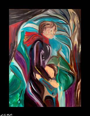 Venir d'Hiver par D. Loren Champlin un portrait d'une mère qui réconforte son enfant fait comme un pétrole sur le tableau de linge