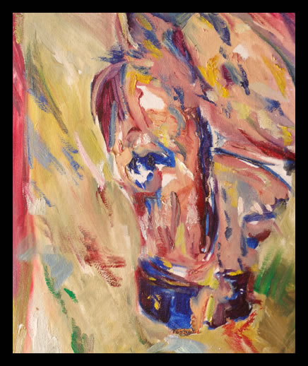 horse and farrier oil painting on canvas by champlin equine art abstract